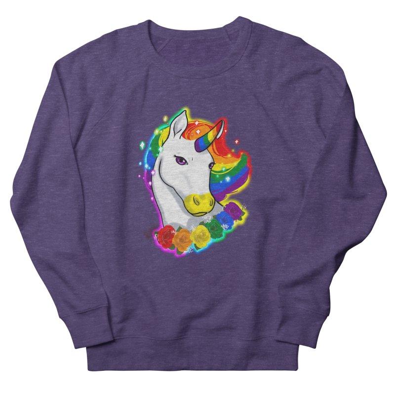 Rainbow gay pride unicorn Men's French Terry Sweatshirt by Animegravy's Artist Shop