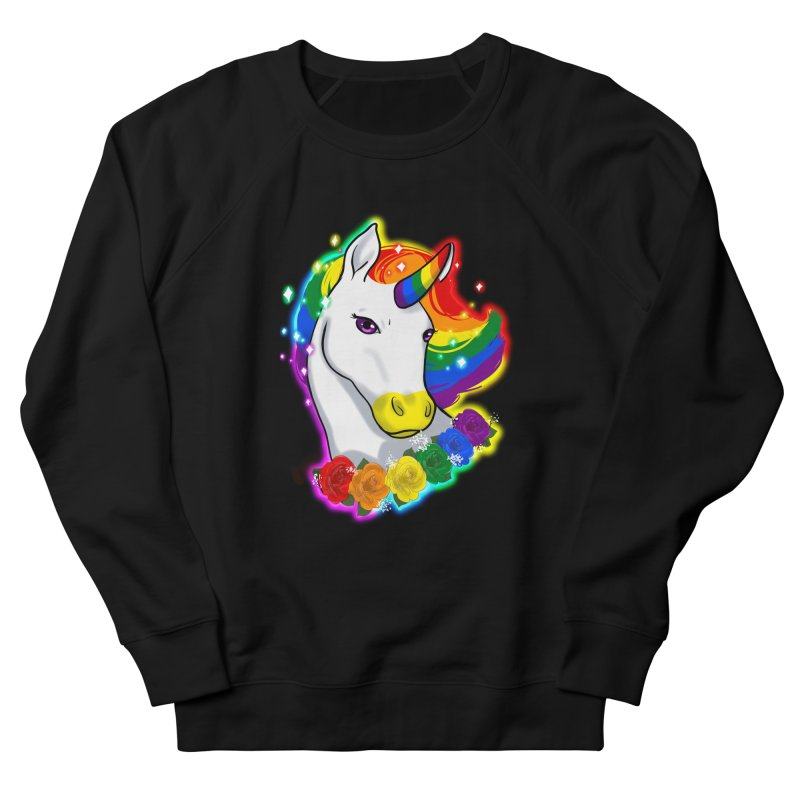 Rainbow gay pride unicorn Men's French Terry Sweatshirt by AnimeGravy