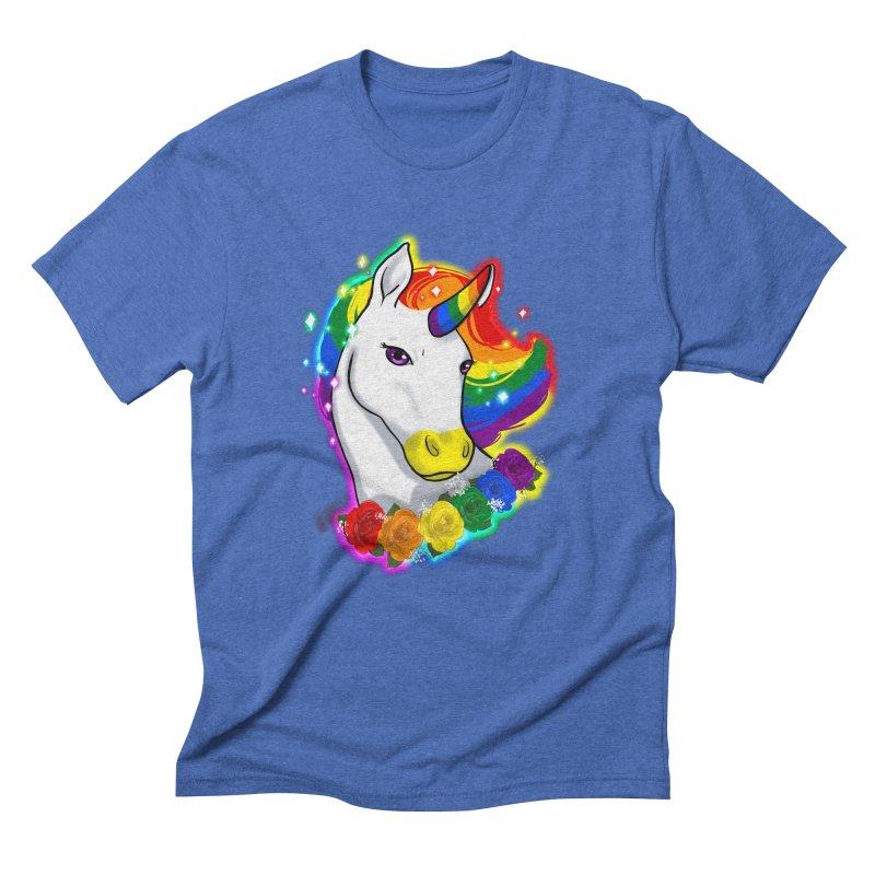Rainbow gay pride unicorn Men's Triblend T-Shirt by AnimeGravy
