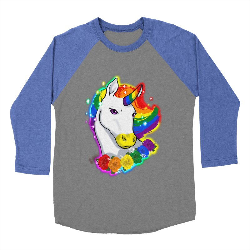 Rainbow gay pride unicorn Women's Baseball Triblend Longsleeve T-Shirt by AnimeGravy