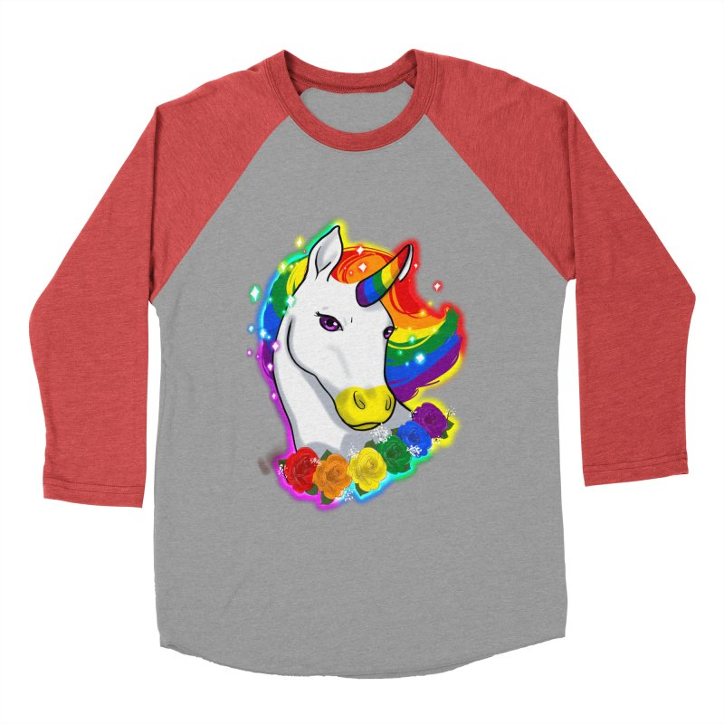 Rainbow gay pride unicorn Women's Baseball Triblend Longsleeve T-Shirt by Animegravy's Artist Shop