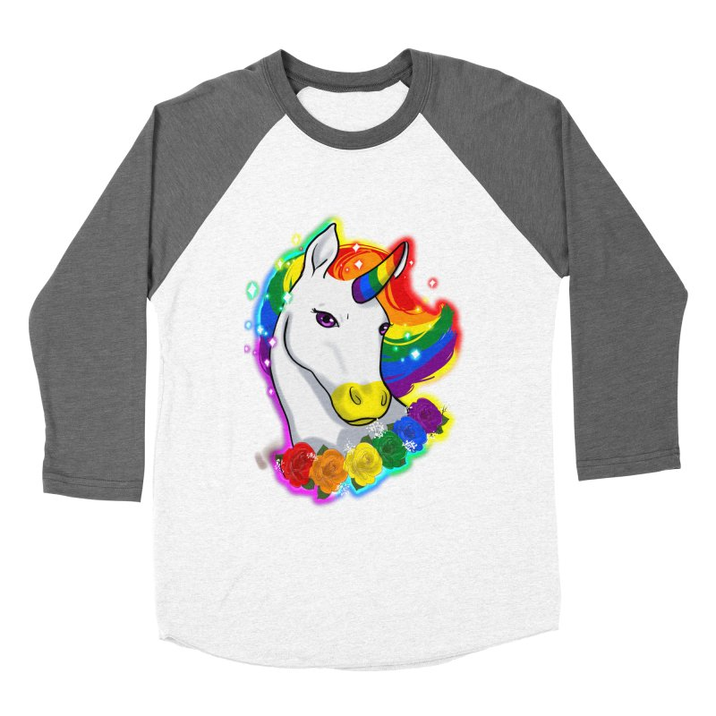 Rainbow gay pride unicorn Men's Baseball Triblend Longsleeve T-Shirt by Animegravy's Artist Shop