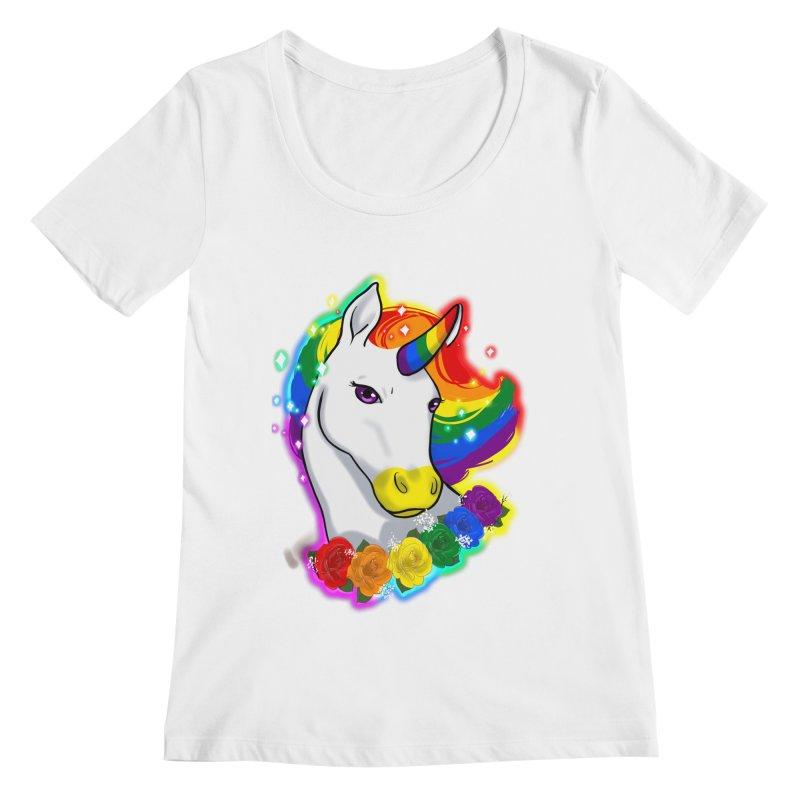 Rainbow gay pride unicorn Women's Regular Scoop Neck by Animegravy's Artist Shop