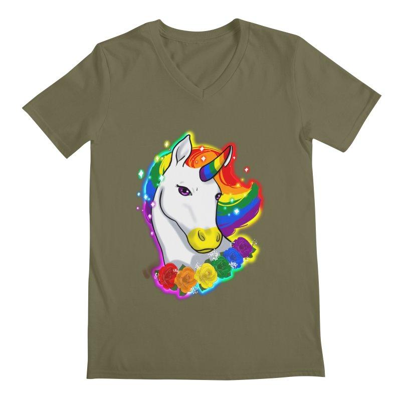 Rainbow gay pride unicorn Men's Regular V-Neck by AnimeGravy