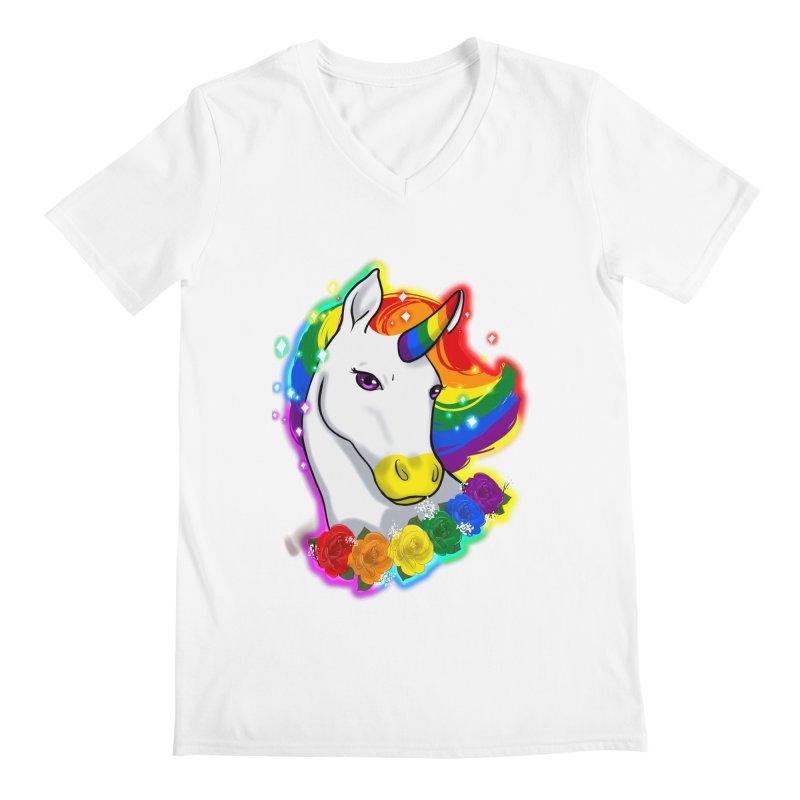 Rainbow gay pride unicorn Men's Regular V-Neck by Animegravy's Artist Shop
