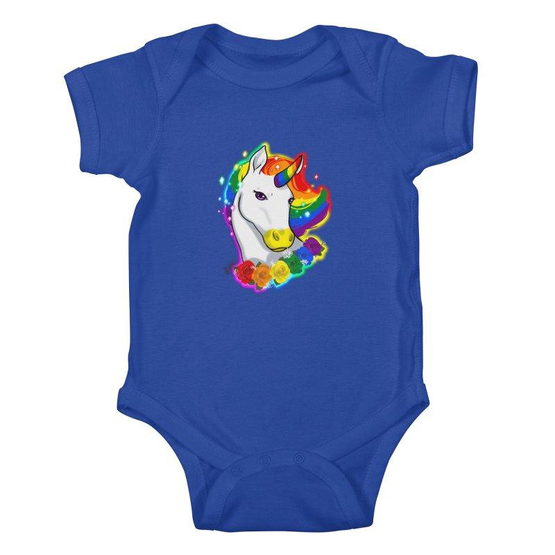 Rainbow gay pride unicorn Kids Baby Bodysuit by AnimeGravy