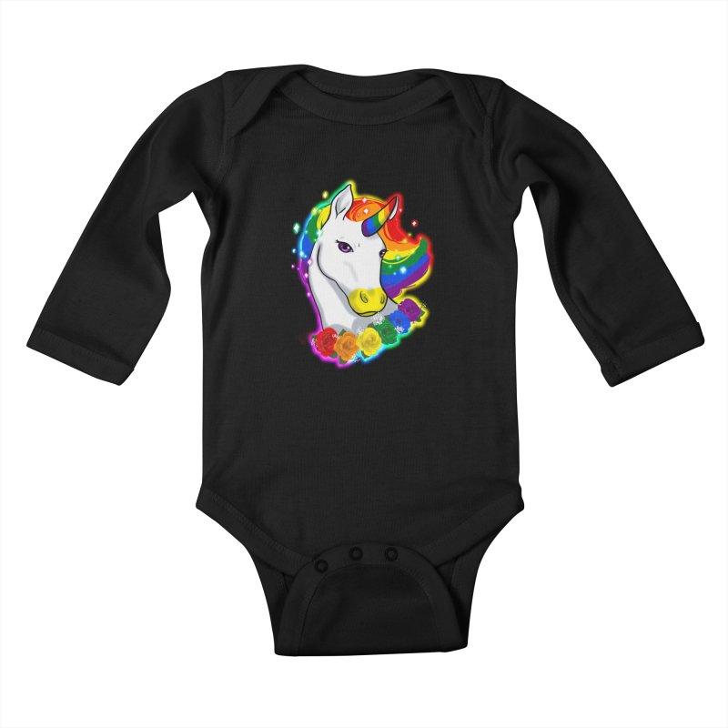 Rainbow gay pride unicorn Kids Baby Longsleeve Bodysuit by Animegravy's Artist Shop