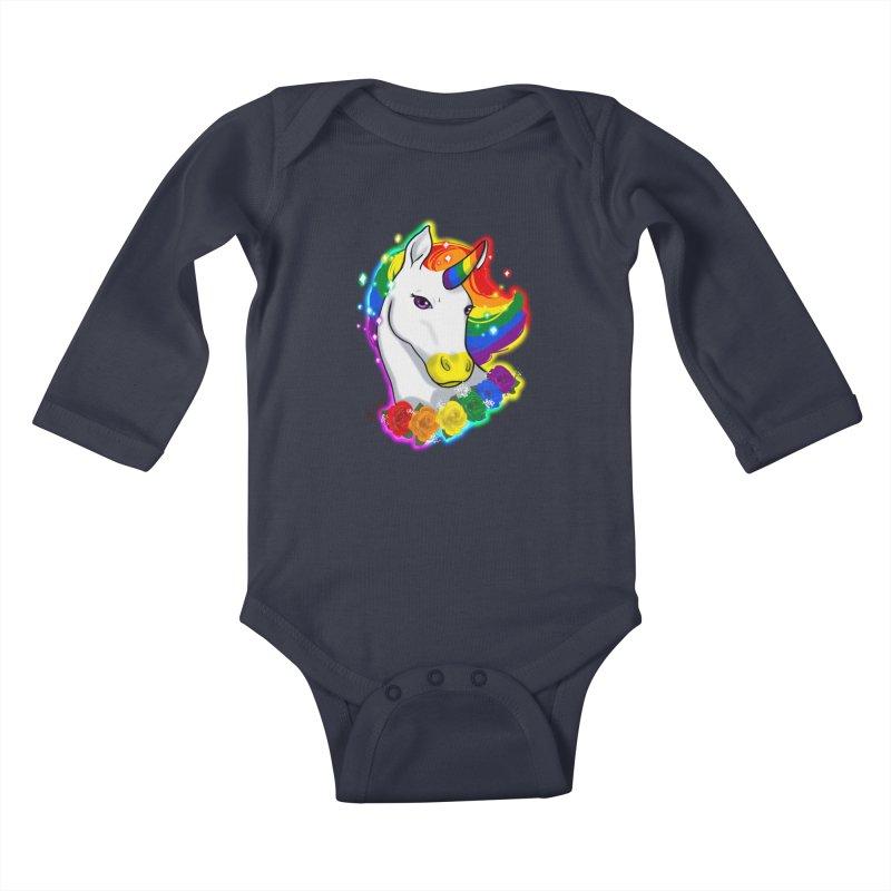 Rainbow gay pride unicorn Kids Baby Longsleeve Bodysuit by AnimeGravy