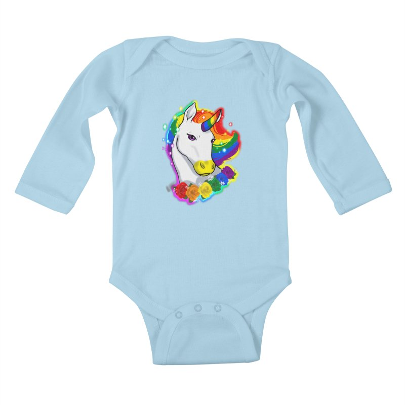 Rainbow gay pride unicorn Kids Baby Longsleeve Bodysuit by AnimeGravy