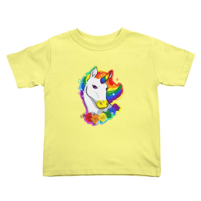 Rainbow gay pride unicorn Kids Toddler T-Shirt by Animegravy's Artist Shop