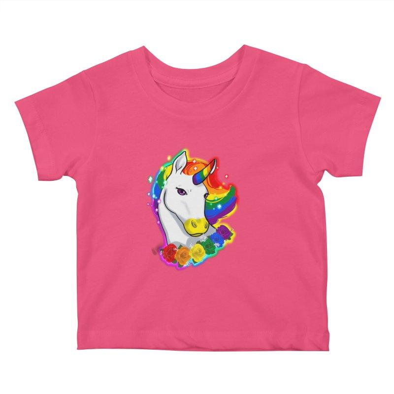 Rainbow gay pride unicorn Kids Baby T-Shirt by AnimeGravy