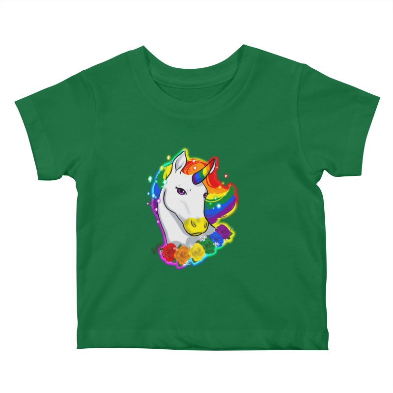 Rainbow gay pride unicorn Kids Baby T-Shirt by AnimeGravy