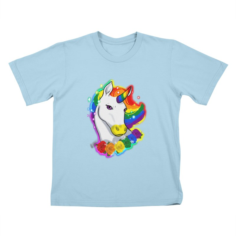 Rainbow gay pride unicorn Kids T-Shirt by Animegravy's Artist Shop