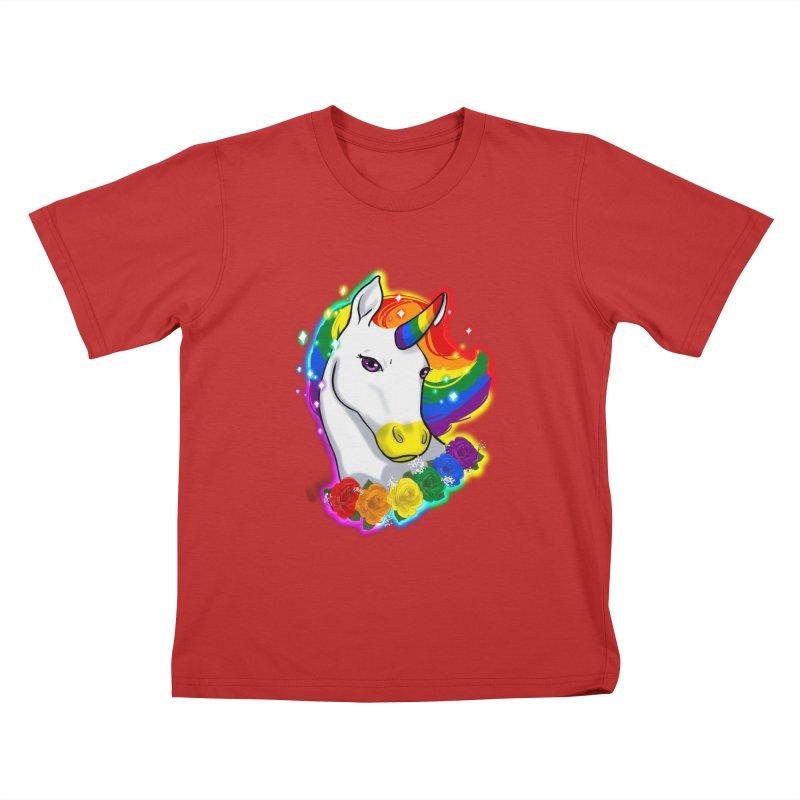 Rainbow gay pride unicorn Kids T-Shirt by AnimeGravy