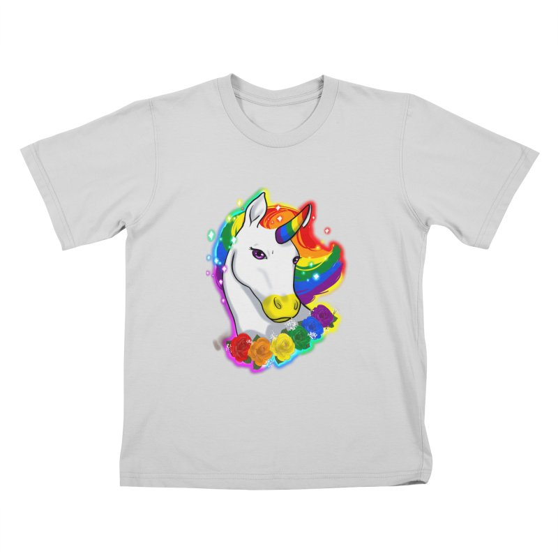 Rainbow gay pride unicorn Kids T-Shirt by AnimeGravy