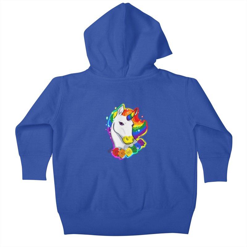 Rainbow gay pride unicorn Kids Baby Zip-Up Hoody by Animegravy's Artist Shop