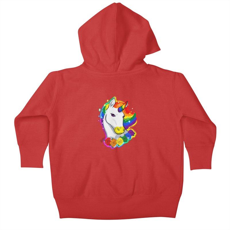 Rainbow gay pride unicorn Kids Baby Zip-Up Hoody by AnimeGravy