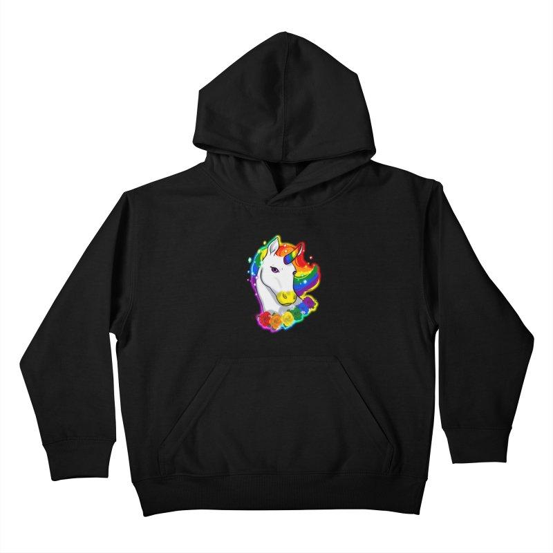 Rainbow gay pride unicorn Kids Pullover Hoody by AnimeGravy