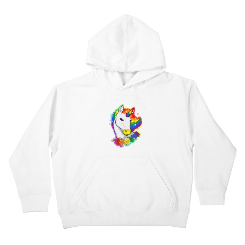 Rainbow gay pride unicorn Kids Pullover Hoody by Animegravy's Artist Shop