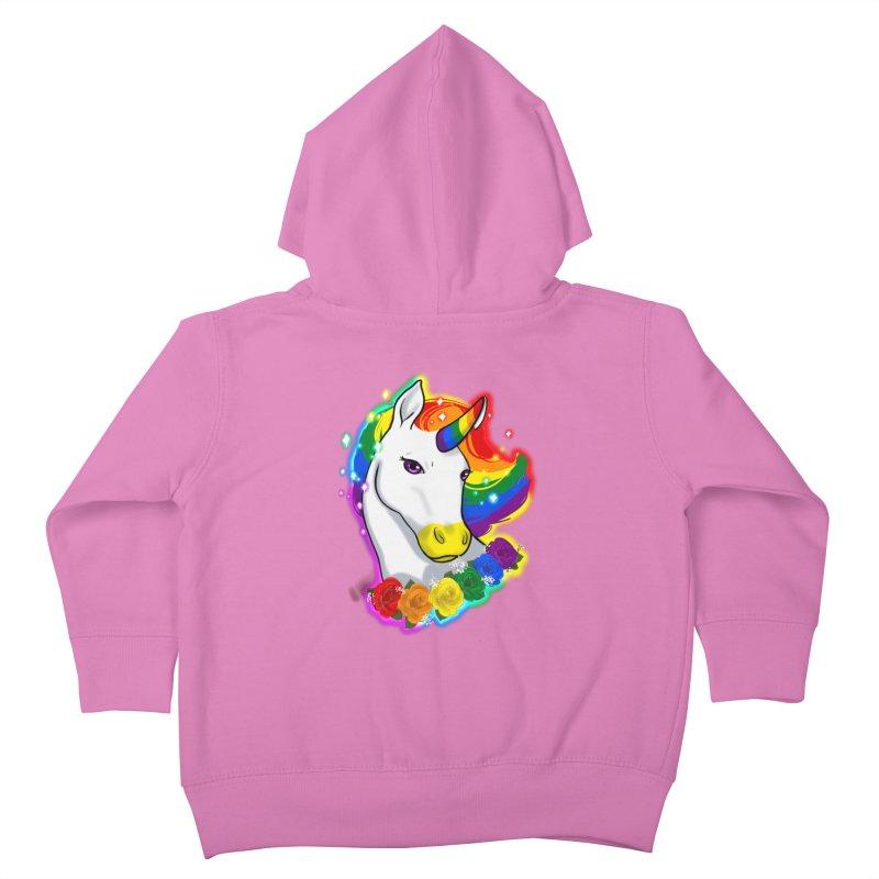 Rainbow gay pride unicorn Kids Toddler Zip-Up Hoody by AnimeGravy