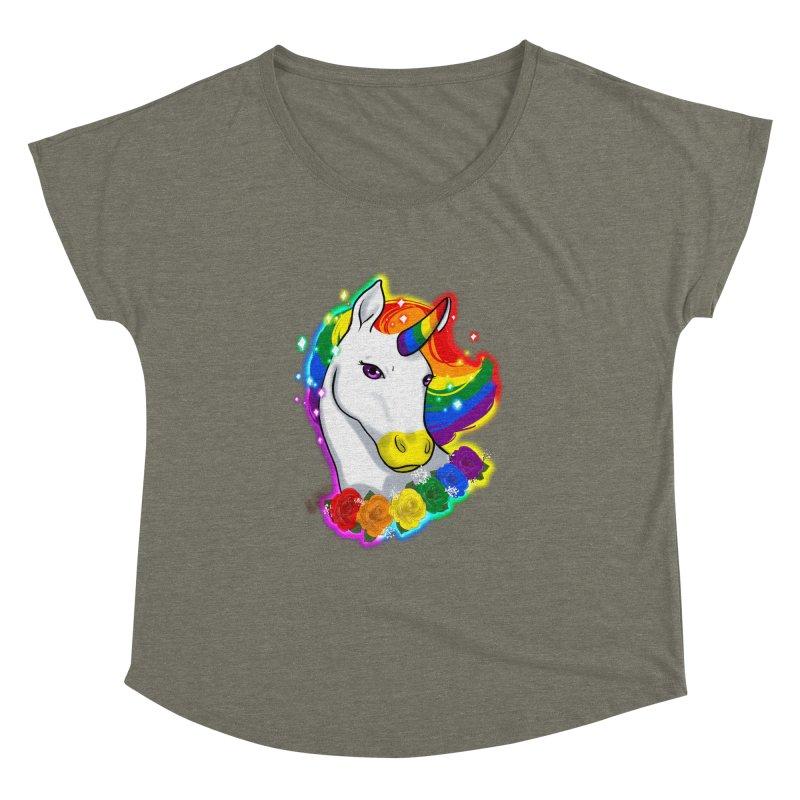 Rainbow gay pride unicorn Women's Dolman Scoop Neck by AnimeGravy