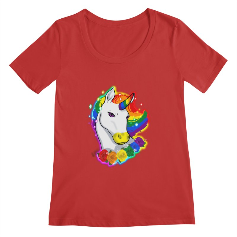 Rainbow gay pride unicorn Women's Regular Scoop Neck by AnimeGravy