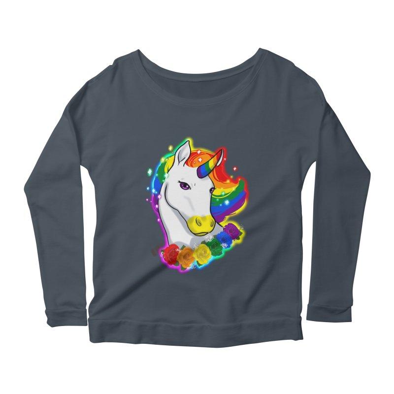 Rainbow gay pride unicorn Women's Scoop Neck Longsleeve T-Shirt by Animegravy's Artist Shop