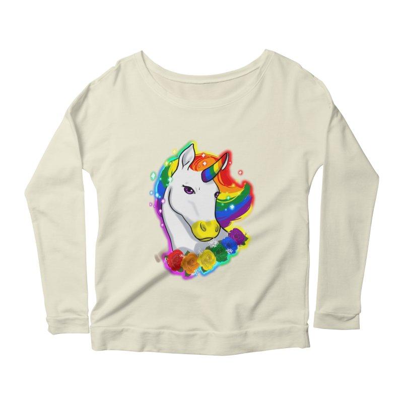 Rainbow gay pride unicorn Women's Scoop Neck Longsleeve T-Shirt by AnimeGravy