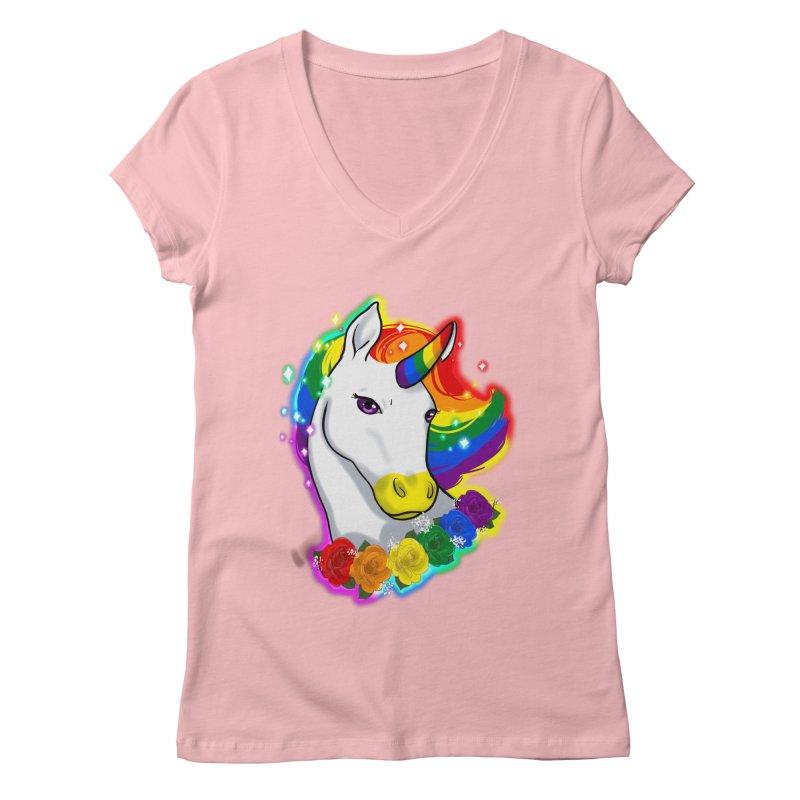 Rainbow gay pride unicorn Women's Regular V-Neck by AnimeGravy