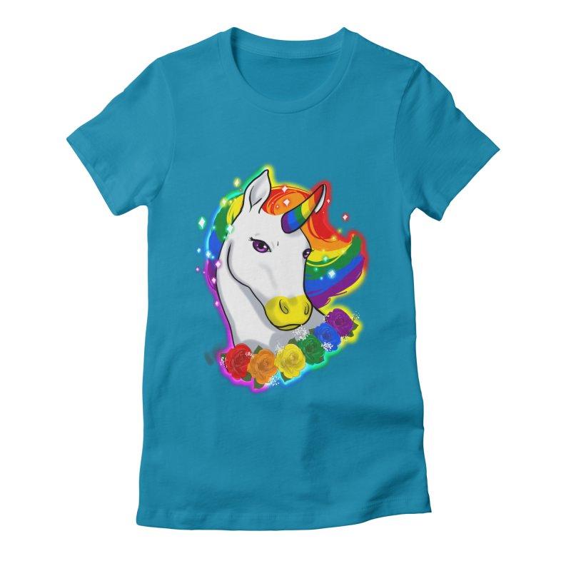 Rainbow gay pride unicorn Women's Fitted T-Shirt by Animegravy's Artist Shop