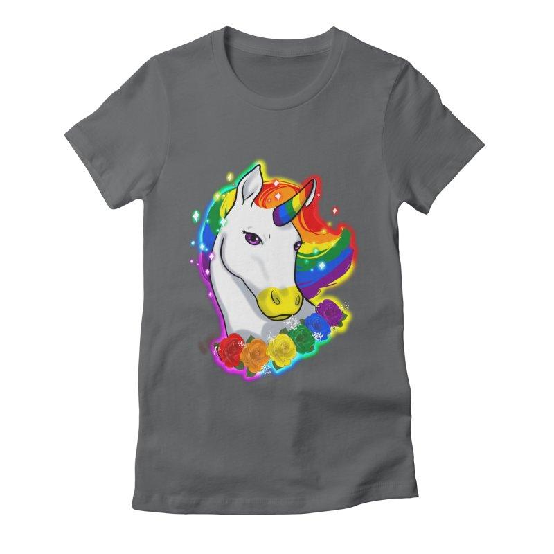 Rainbow gay pride unicorn Women's Fitted T-Shirt by AnimeGravy