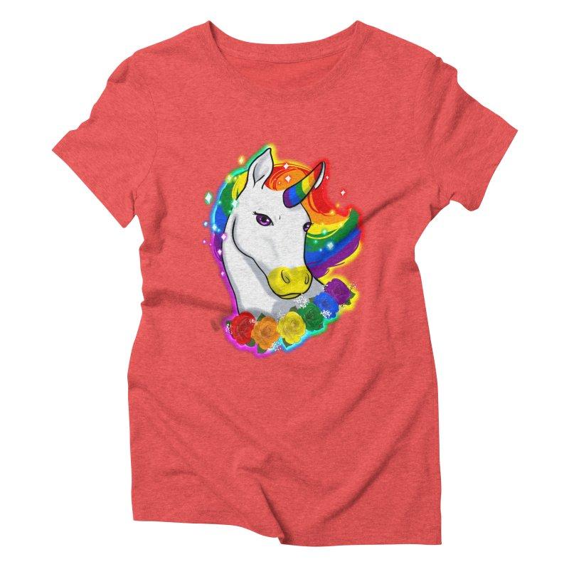 Rainbow gay pride unicorn Women's Triblend T-Shirt by AnimeGravy