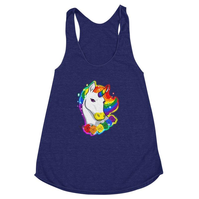 Rainbow gay pride unicorn Women's Racerback Triblend Tank by Animegravy's Artist Shop