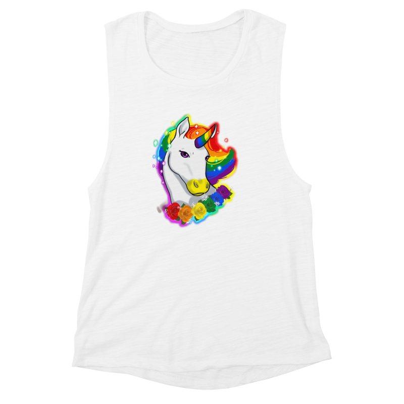 Rainbow gay pride unicorn Women's Muscle Tank by Animegravy's Artist Shop