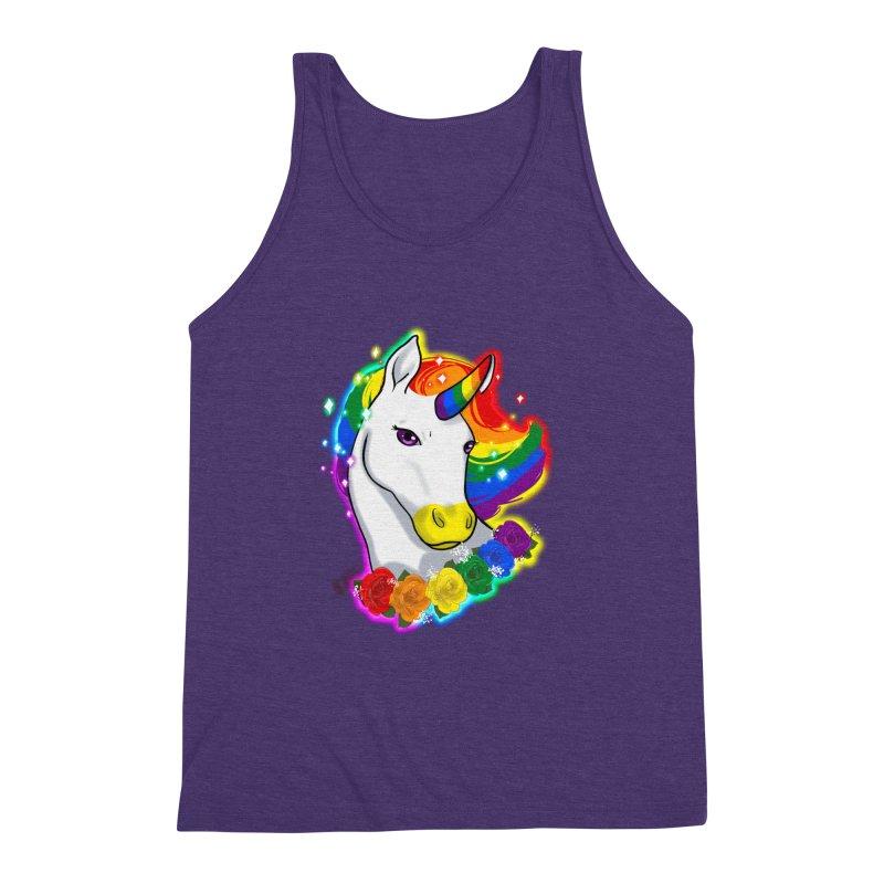 Rainbow gay pride unicorn Men's Triblend Tank by AnimeGravy