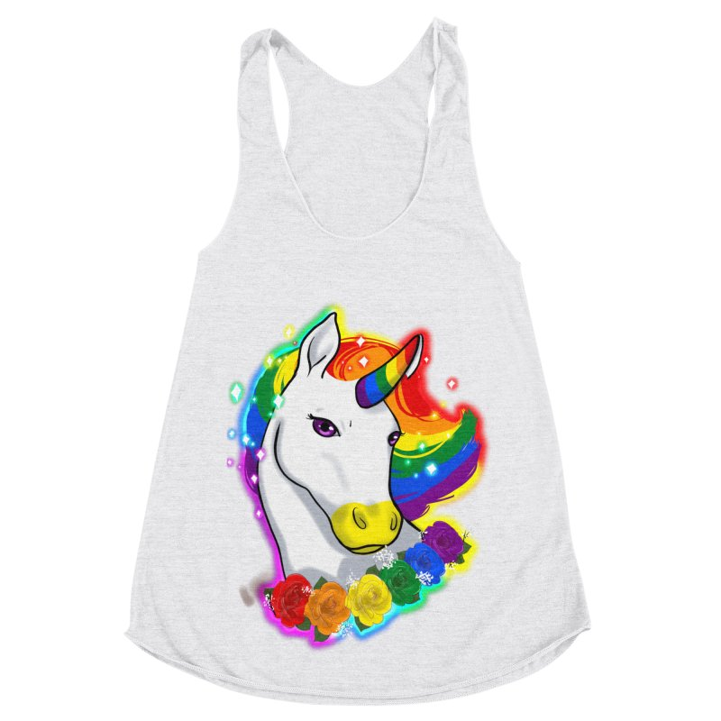 Rainbow gay pride unicorn Women's Racerback Triblend Tank by AnimeGravy