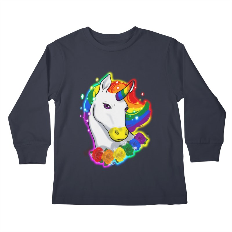 Rainbow gay pride unicorn Kids Longsleeve T-Shirt by AnimeGravy