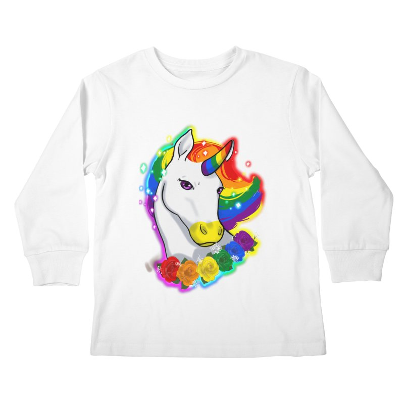 Rainbow gay pride unicorn Kids Longsleeve T-Shirt by AnimeGravy