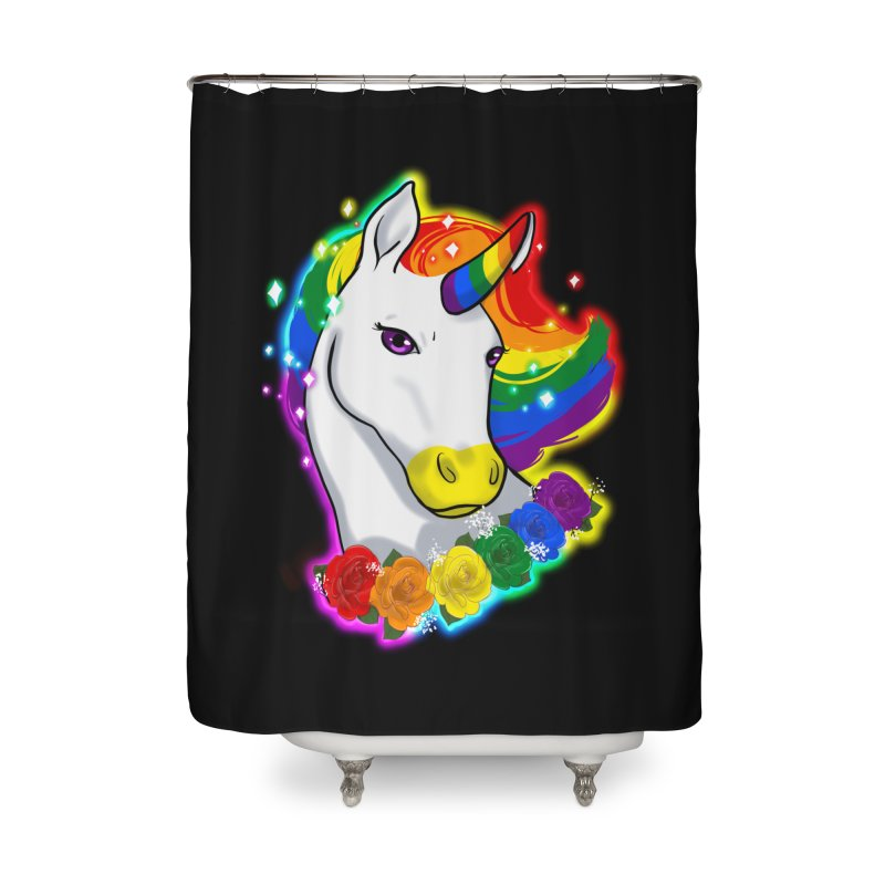 Rainbow gay pride unicorn Home Shower Curtain by AnimeGravy