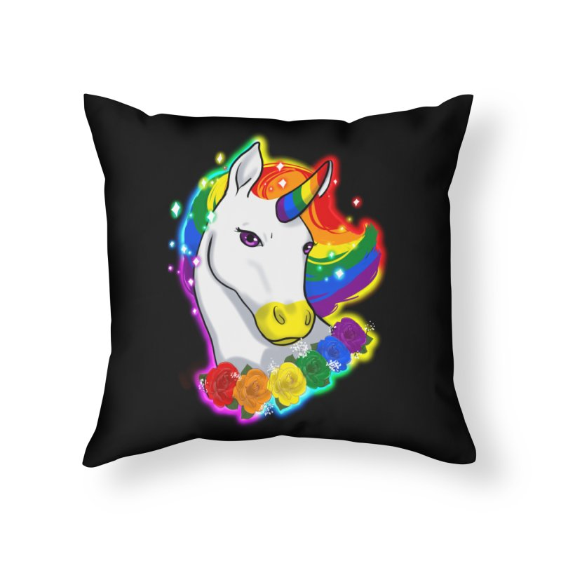 Rainbow gay pride unicorn Home Throw Pillow by AnimeGravy