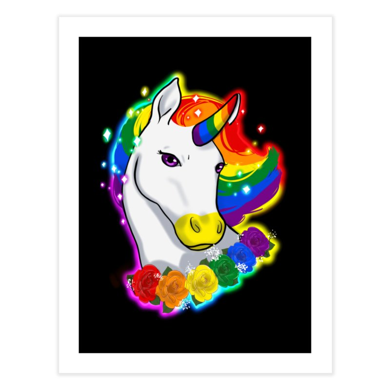 Rainbow gay pride unicorn Home Fine Art Print by AnimeGravy