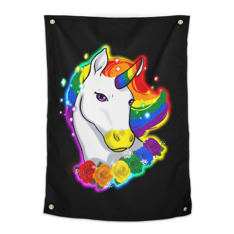 Rainbow gay pride unicorn Home Tapestry by AnimeGravy