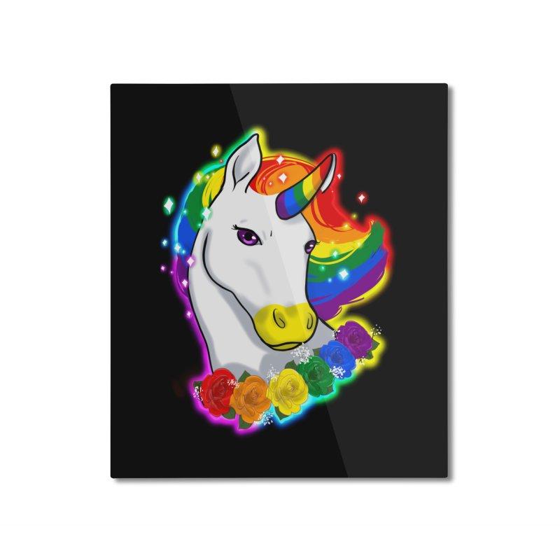 Rainbow gay pride unicorn Home Mounted Aluminum Print by AnimeGravy