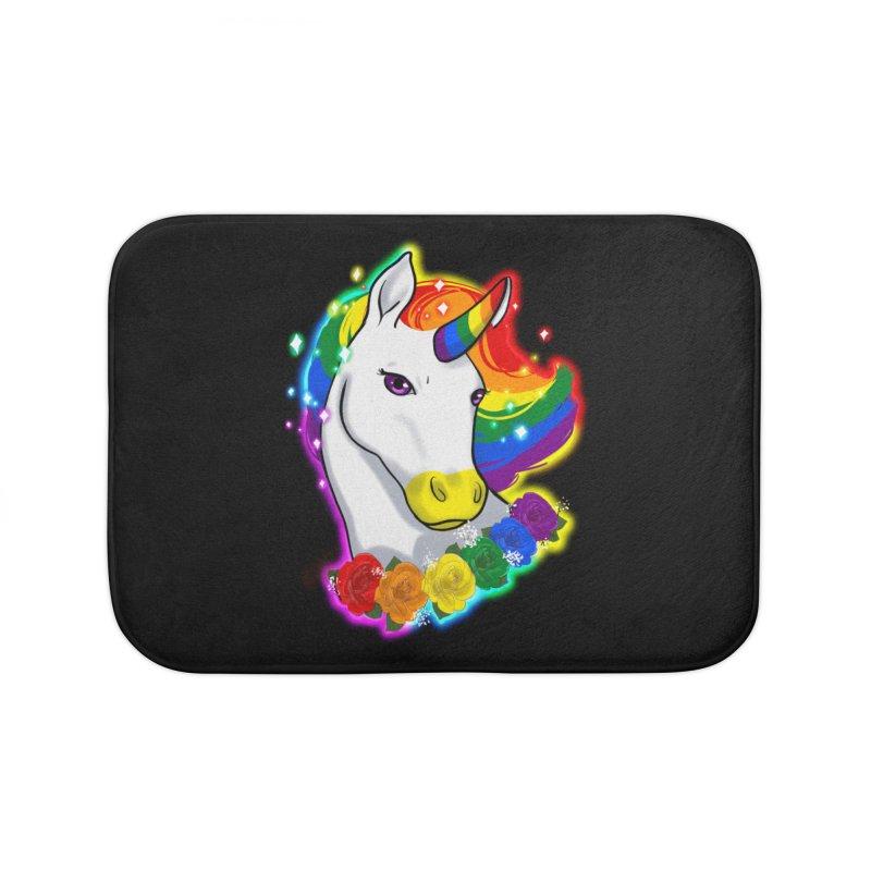 Rainbow gay pride unicorn Home Bath Mat by AnimeGravy