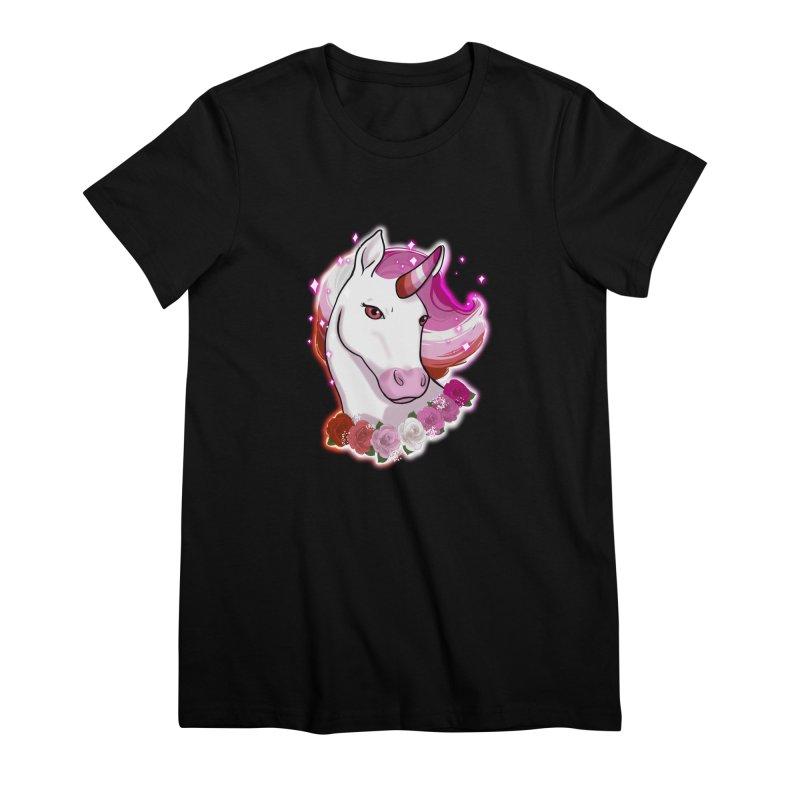 Lesbian pride unicorn Women's Premium T-Shirt by AnimeGravy