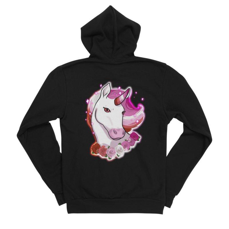 Lesbian pride unicorn Men's Sponge Fleece Zip-Up Hoody by AnimeGravy