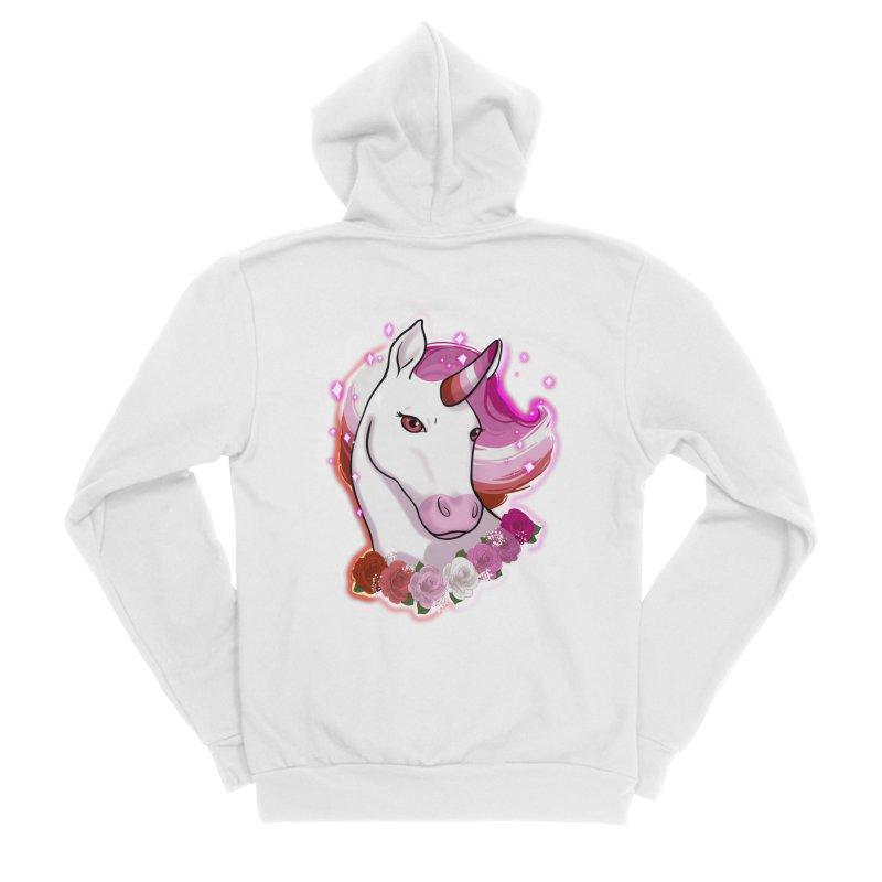 Lesbian pride unicorn Women's Sponge Fleece Zip-Up Hoody by AnimeGravy