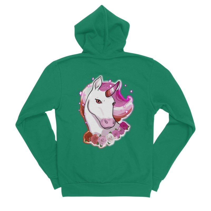 Lesbian pride unicorn Men's Sponge Fleece Zip-Up Hoody by Animegravy's Artist Shop