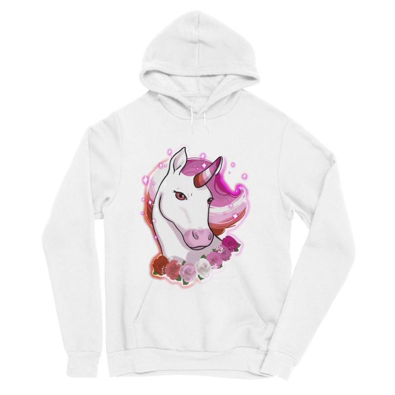 Lesbian pride unicorn Women's Sponge Fleece Pullover Hoody by Animegravy's Artist Shop