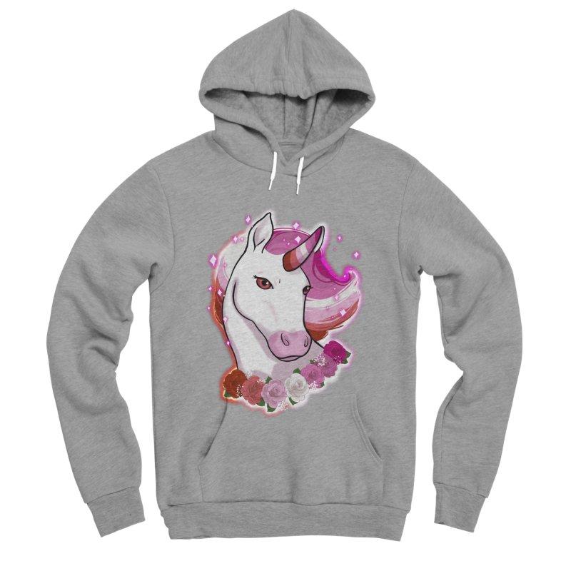 Lesbian pride unicorn Women's Sponge Fleece Pullover Hoody by AnimeGravy